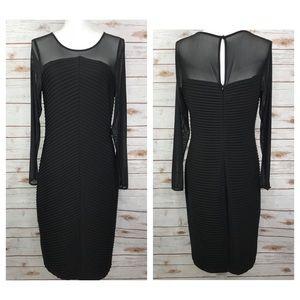 Calvin Klein Black Mesh Ruched Midi Dress
